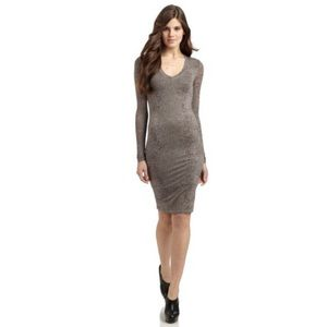 BCBGMAXAZRIA Tori Reptile Printed V-Neck Dress